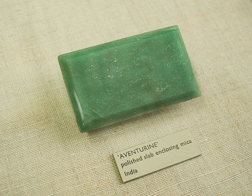 rectangular shaped green aventurine quartz mineral