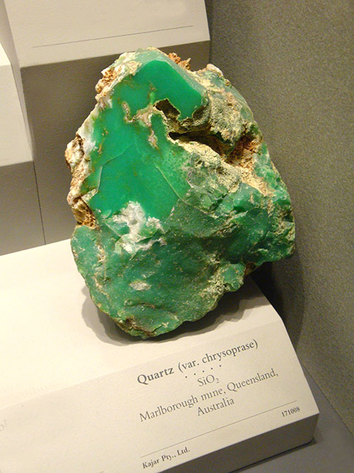 large museum specimen of chrysoprase