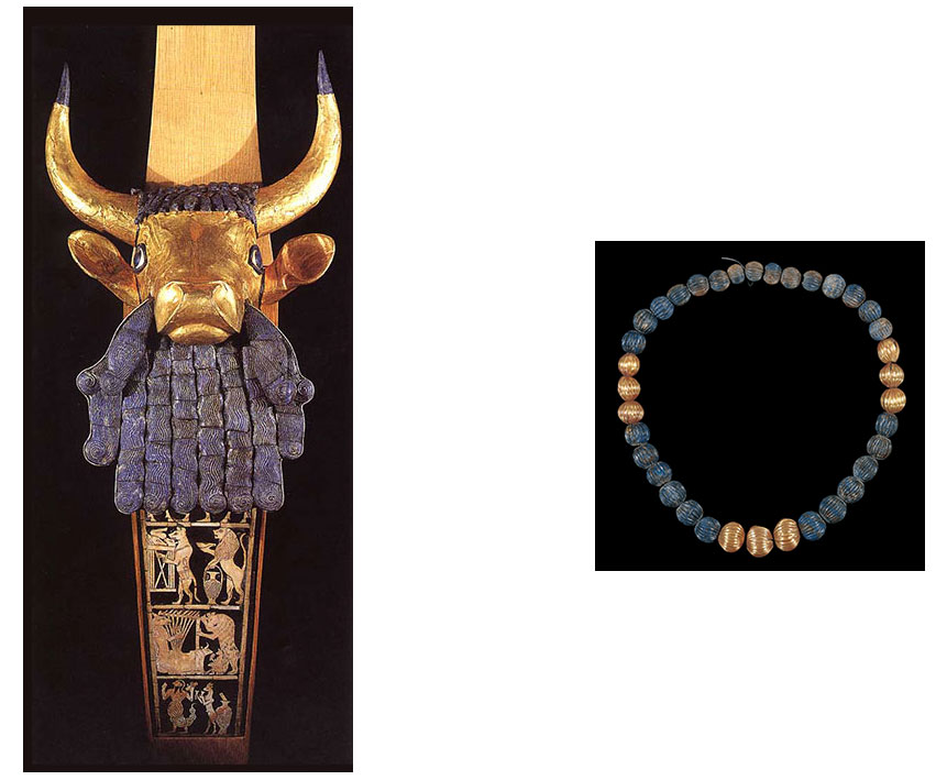 ancient lapis lazuli artifacts a golden coloured cow with a lapis lazuli hand shaped beard and a lapis necklace