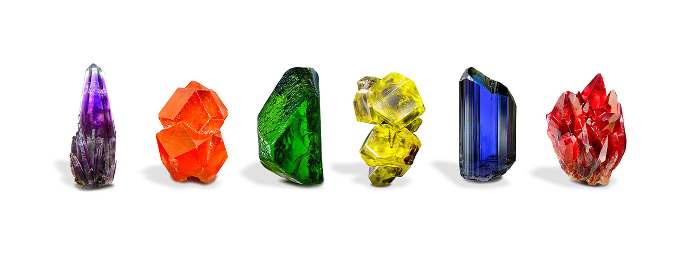 line of six colourful minerals