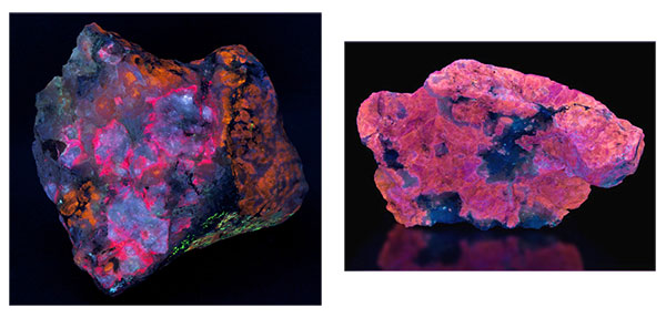 two fluorescent varieties of the mineral sodalite