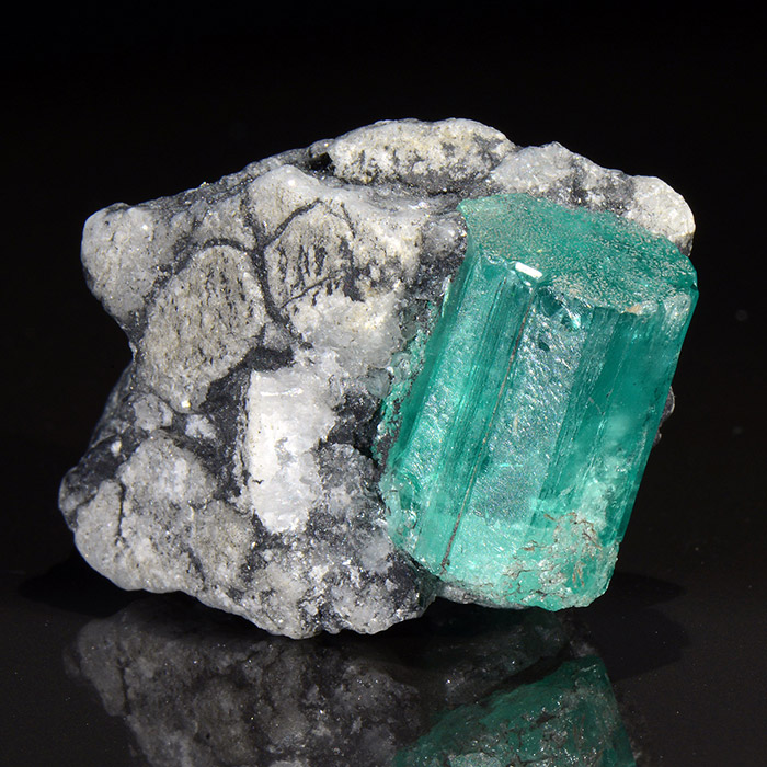 the mineral beryl variety emerald, tubular shaped crystal embedded in rock matrix