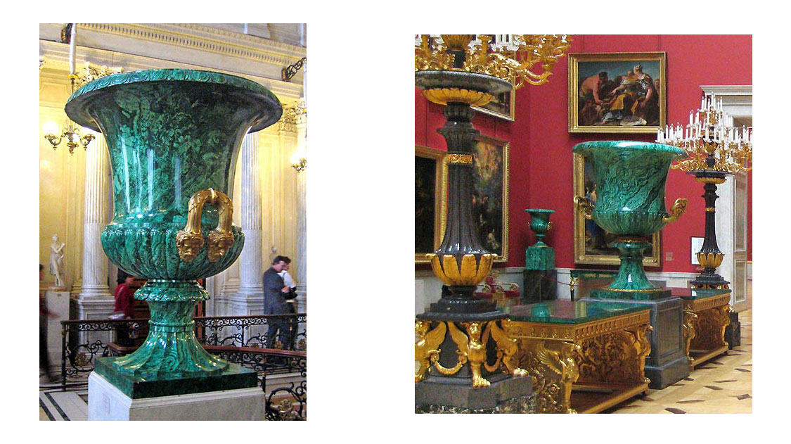 very large malachite cup on display in the Hermitage Museum