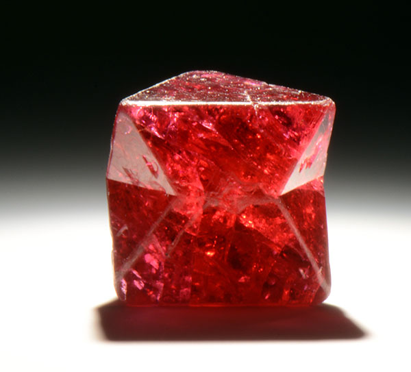 three red spinel rough stones in the Harvard Natural History Museum Massachusetts