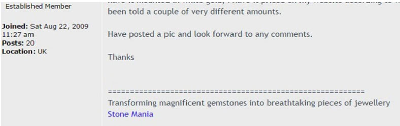 Screenshot of a post in a forum which shows a the tagline of Stone Mania
