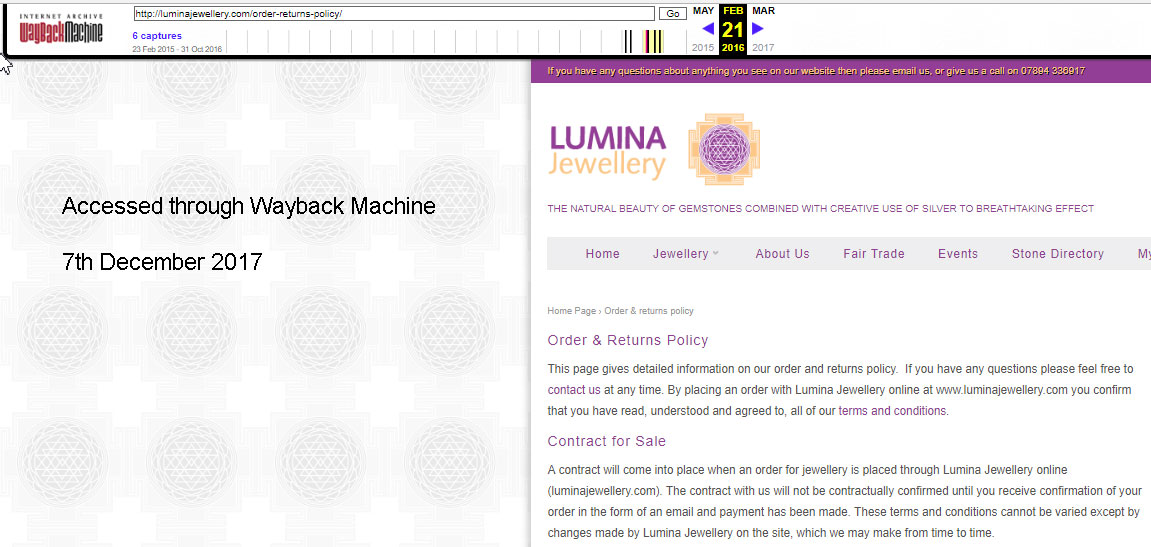 Archived page from the Lumina Jewellery website from an internet archive service