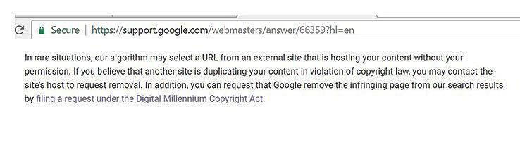 google notice re plagiarism