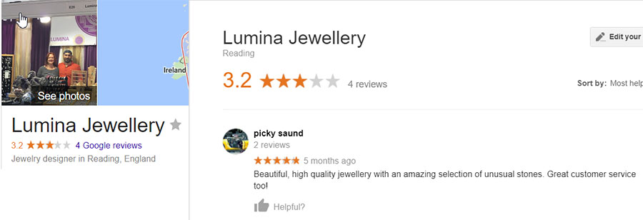 A great review posted by the owner of Lumina Jewellery on his own Google listing