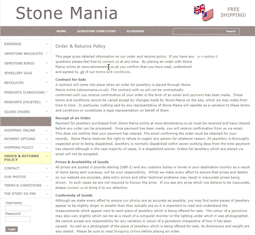 Order and returns policy on the website of Stone Mania
