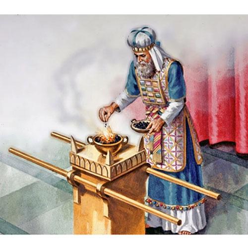 Jewish high priest wearing the breastplate featuring twelve gemstones