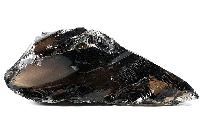 a piece of obsidian which is natural volcanic glass