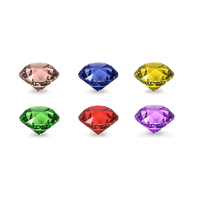 chart of six colourful birthstones