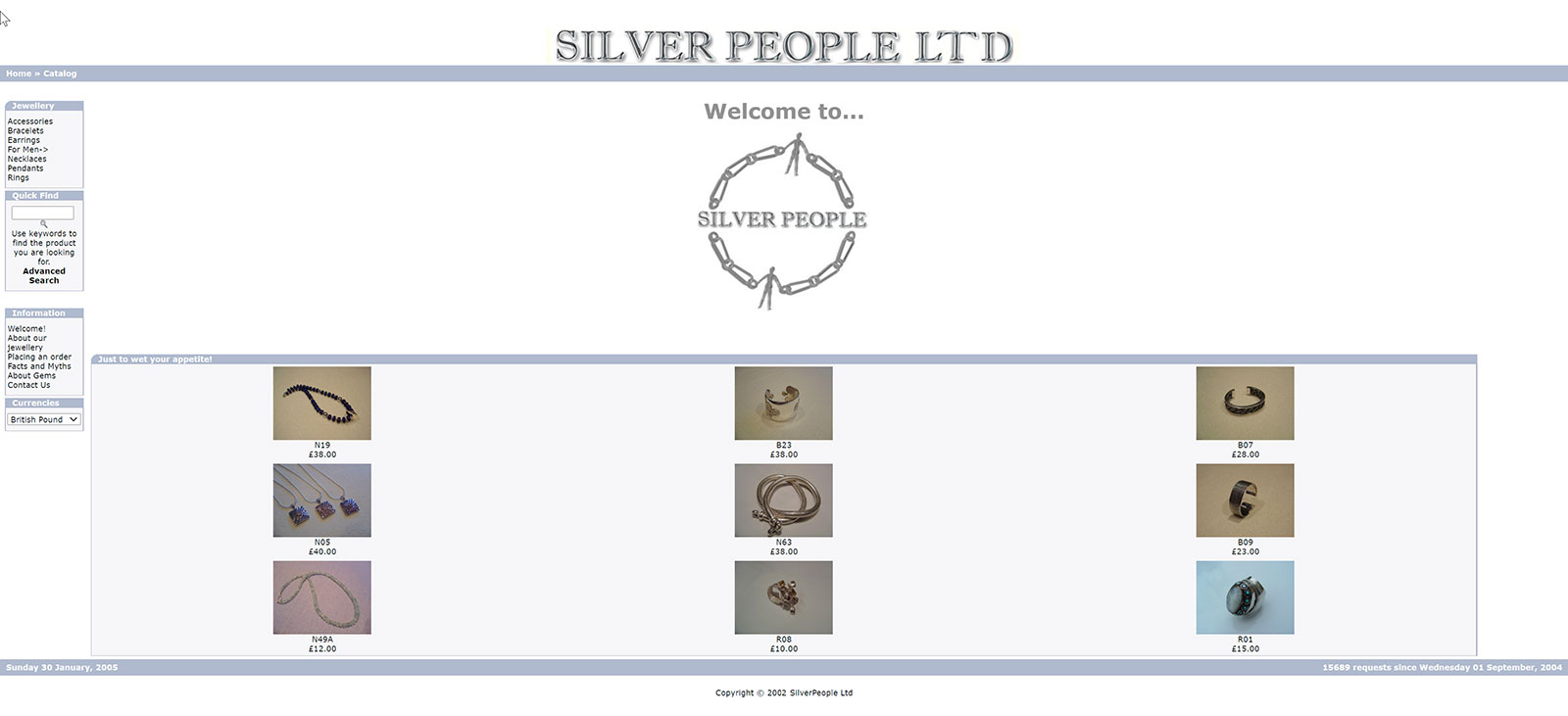 Home page of the website of Silver People Limited