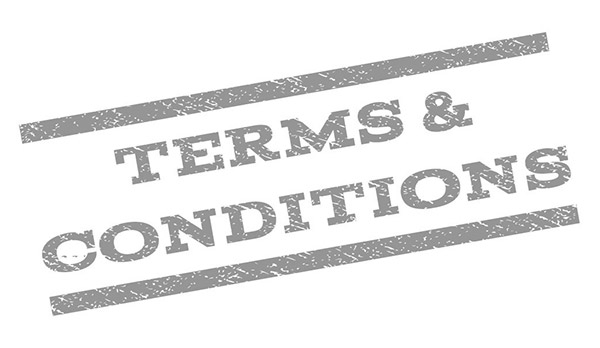 terms and conditions rubber stamped on a white background