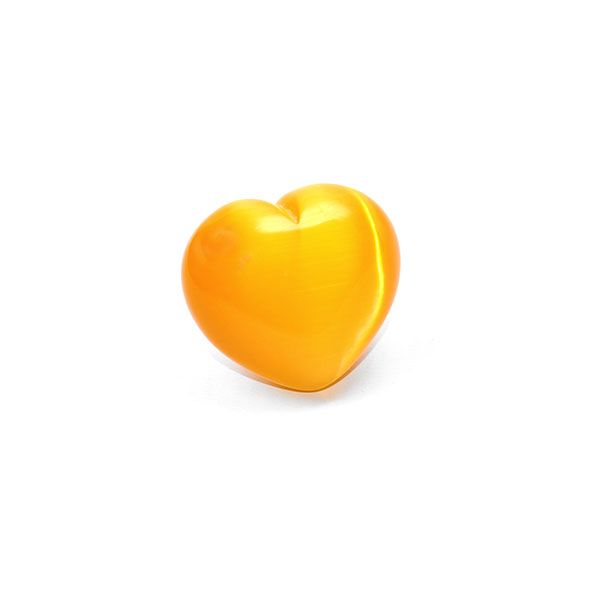 bright yellow cat's eye mineral polished heart