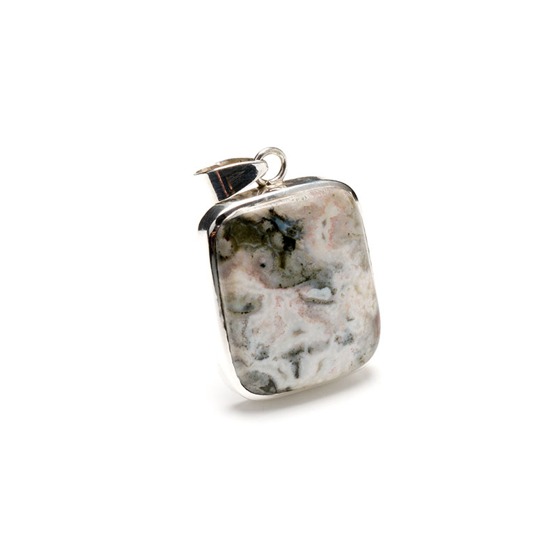 rectangular shaped light coloured agate gemstone mounted as a ladies pendant in sterling silver