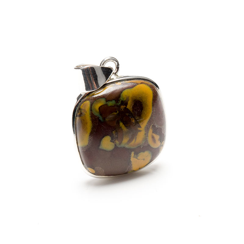 brown and mustard yellow coloured jasper gemstone crafted as a ladies pendant in sterling silver