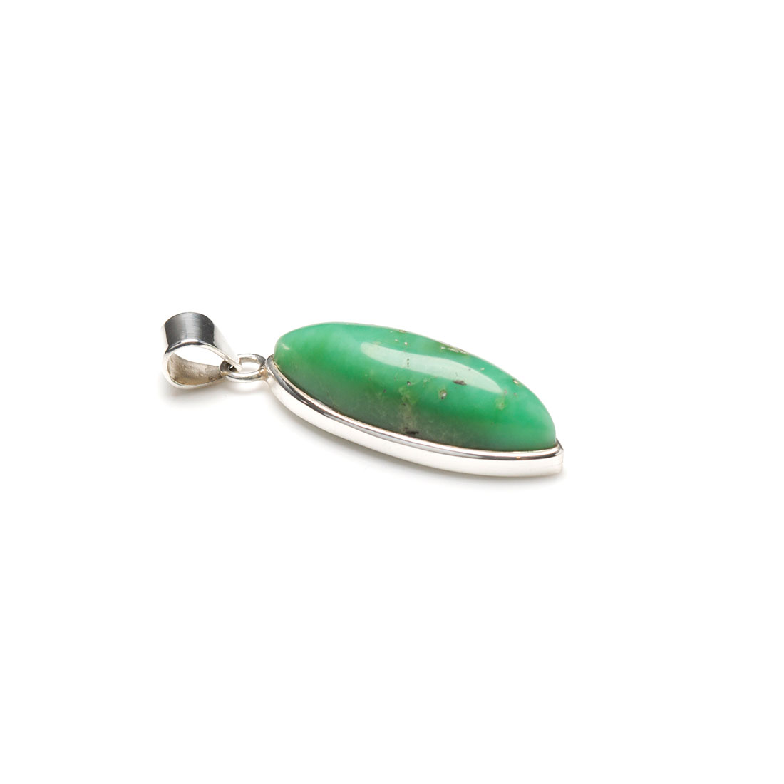 marquise shaped sterling silver pendant featuring a polished chrysoprase gemstone