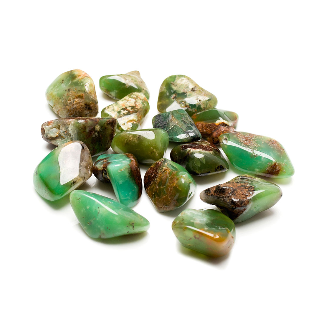 emerald green coloured chrysoprase tumbled stones