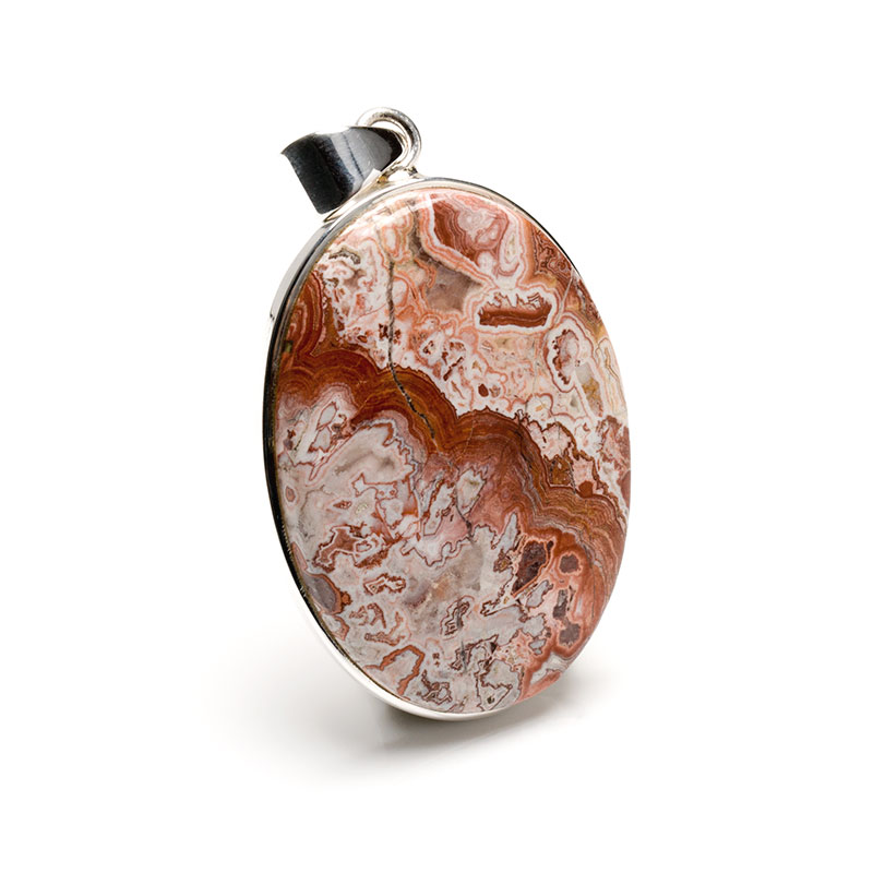 oval shaped agate gemstone crafted as a ladies pendant in sterling silver