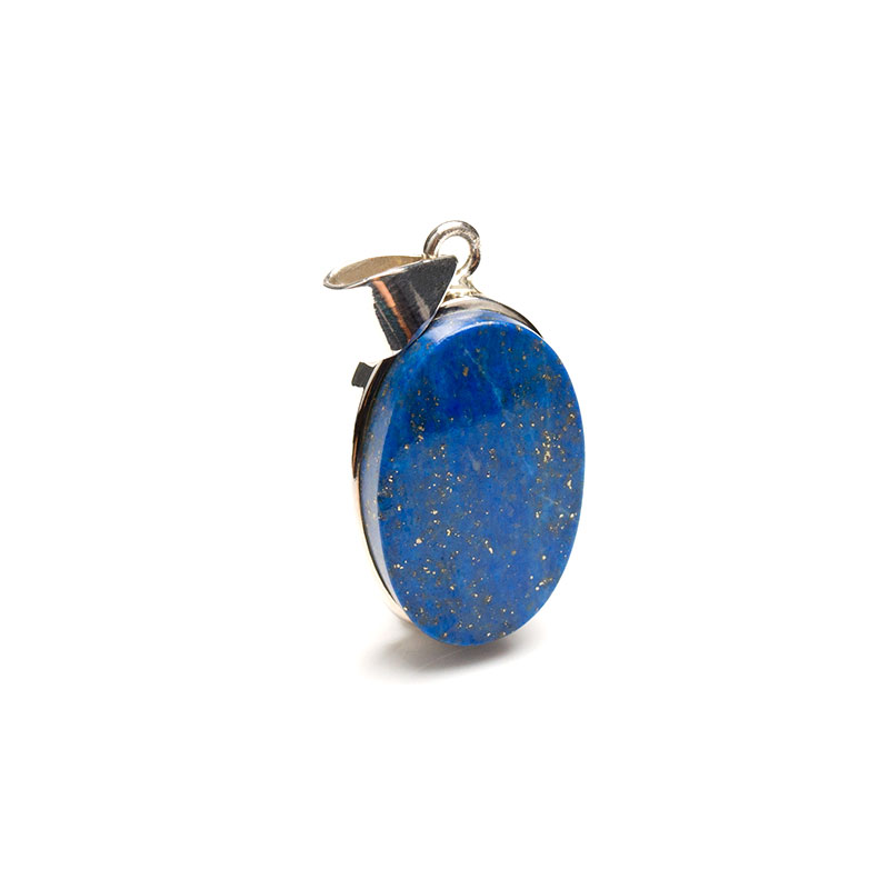 lapis lazuli gemstone crafted as a ladies pendant in sterling silver