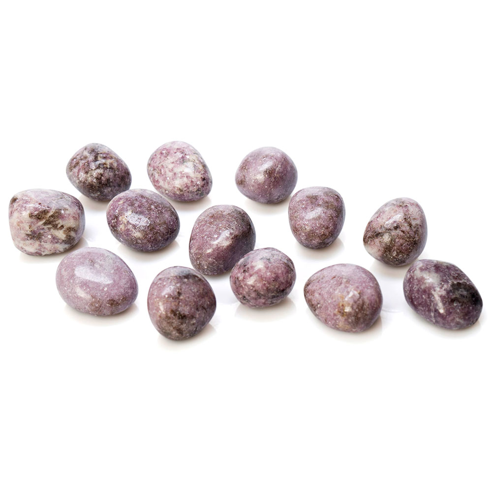 purple to violet coloured lepidolite tumbled stones