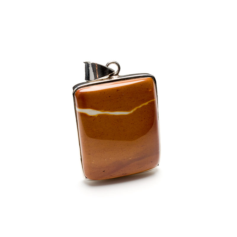 Polished Mookaite cabochon crafted as a ladies pendant in a sterling silver setting