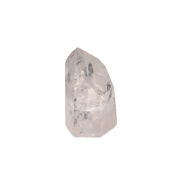 transparent quartz point with a glass-like surface and visible crystallization