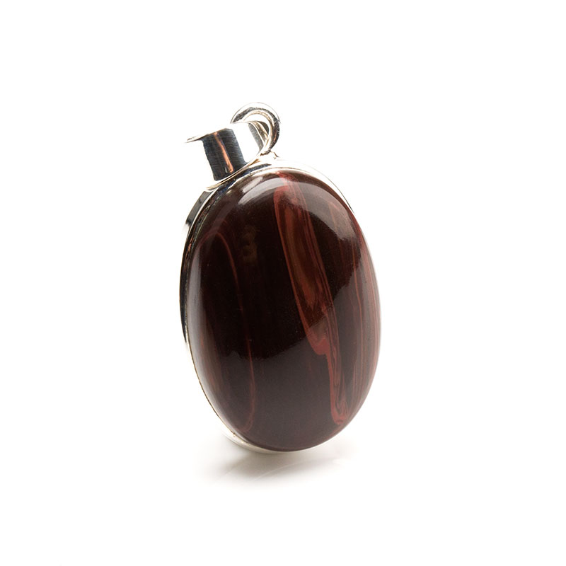 red tigers eye gemstone pendant crafted in sterling silver