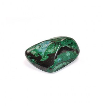 Green and black coloured chrysocolla and malachite polished pebble