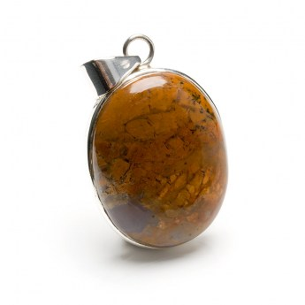 oval shaped brown coloured agate gemstone mounted as a ladies pendant in sterling silver
