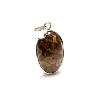 rectangular shaped jasper gemstone mounted as a pendant in sterling silver