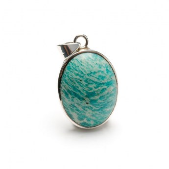 polished amazonite gemstone pendant in a sterling silver setting