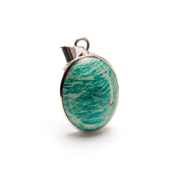 oval shaped amazonite gemstone mounted as a ladies pendant in sterling silver