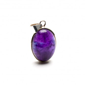 amethyst crystal mounted as a ladies pendant in sterling silver