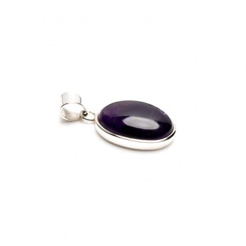 amethyst cabochon mounted in a fine sterling silver setting. Ladies pendant jewellery