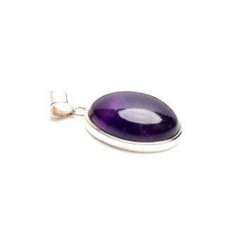 amethyst cabochon mounted as a ladies pendant in sterling silver