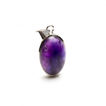 amethyst gemstone cabochon mounted as a ladies pendant necklace in sterling silver