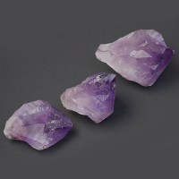 Three individual amethyst points