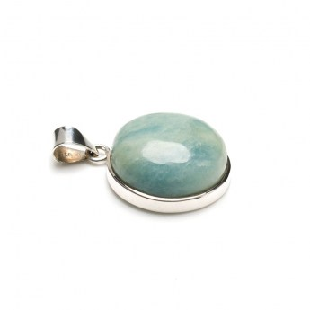 Round aquamarine gemstone pendant crafted in sterling silver