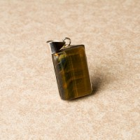 Black Tigers Eye ladies gemstone pendant crafted in sterling silver