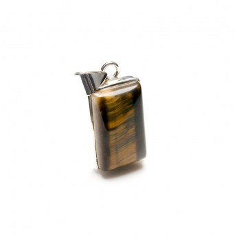 Black tigers eye polished gemstone mounted as a ladies pendant in fine sterling silver