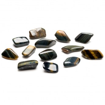 small group of black tigers eye tumbled stones