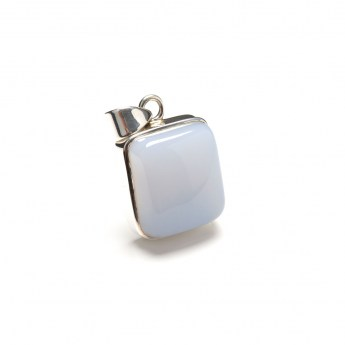 blue chalcedony gemstone pendant crafted in sterling silver
