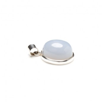 bulbous oval shaped chalcedony gemstone mounted as a ladies pendant in sterling silver