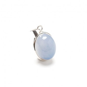 bulbous shaped chalcedony gemstone mounted as a ladies pendant in sterling silver
