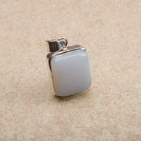 chunky square shaped blue chalcedony gemstone pendant mounted in sterling silver