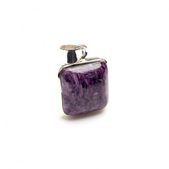 purple coloured charoite gemstone crafted in sterling silver as a ladies pendant