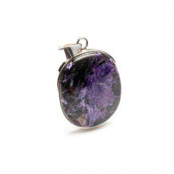 charoite gemstone crafted in sterling silver as a ladies pendant