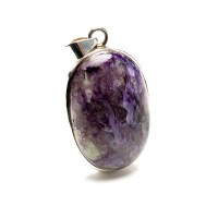 ladies pendant featuring a purple coloured charoite gemstone mounted in a sterling silver setting